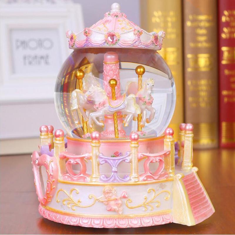 Crystal Ball LED Light Resin Carousel Music Box Kids Girl ValentineS Day Birthday Boys Christmas Gift Wedding Home Decor Crafts Comedy Gifts