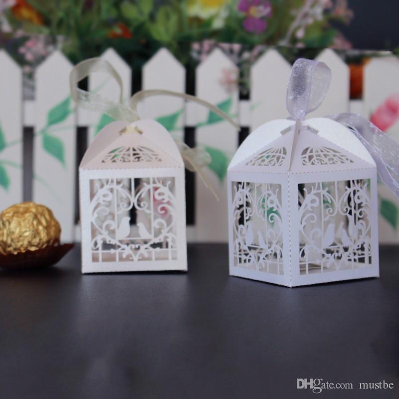 amore cuore bianco gabbia uccelli piccolo regalo del laser caramelle scatole da sposa favore di partito con le borse di nastro decor rosa