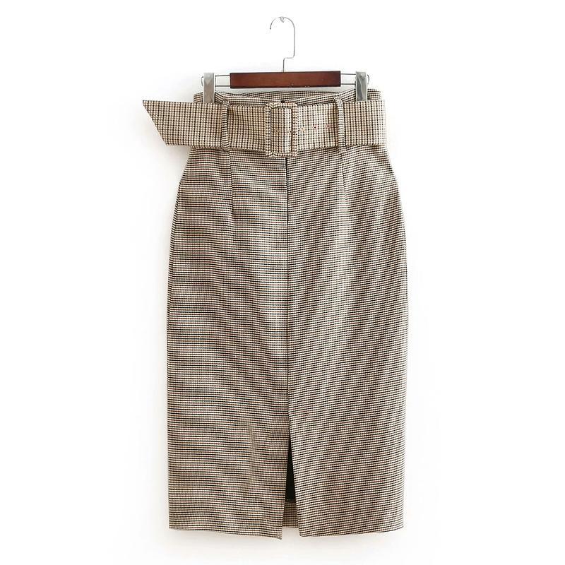 e70a7e77980eb8 2019 nouvelles femmes Vintage imprimé pied de poule écharpes fendues midi  jupe dames mode vestidos casual slim chic jupes d affaires QUN171