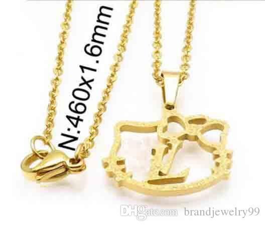 13a1b8a6f 2019 Lovely Hollow Hello Kitty Pendant Necklace Brand Letters Design  Clavicle Chain 14K Gold Steel Titanium Necklace For Women Girl Charm Jewelry  From ...
