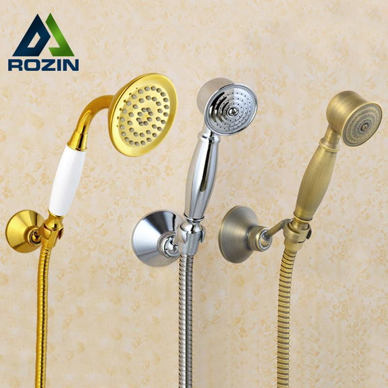 2019 Chrome Golden Handheld Shower Head Wall Mount Brass Bracket