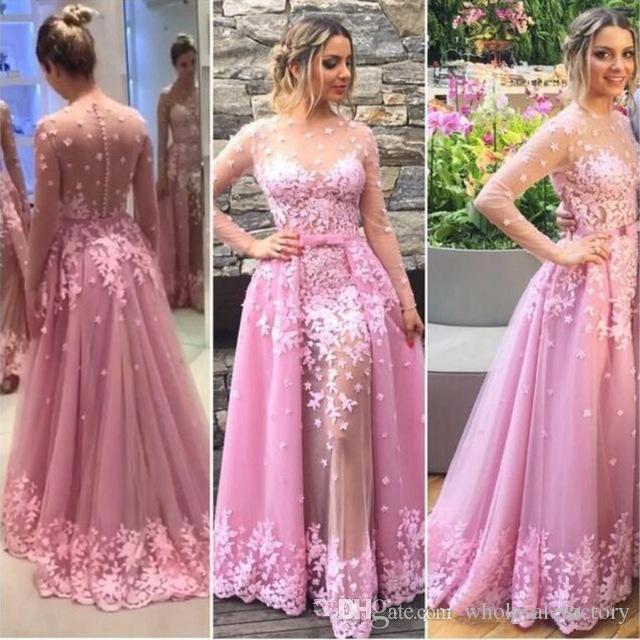 Rosa Weinlese-Spitze Overskirt Abendkleider A-Linie Sheer Long Sleeves Plus Size afrikanischen Arabisch formale Abschlussball-Partei-Kleider