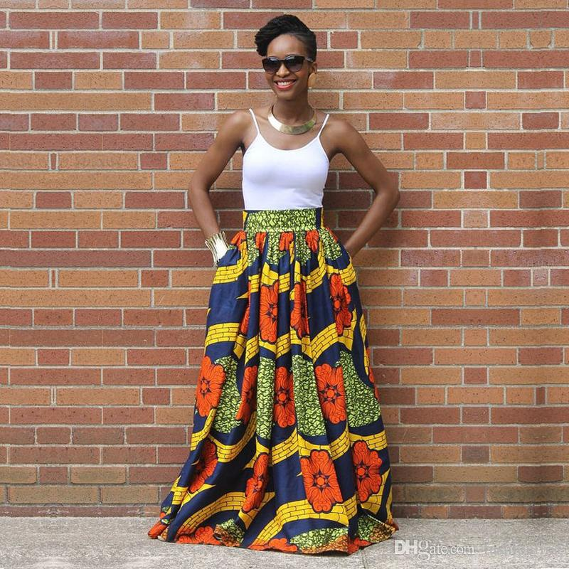 0e24b21bf8 2019 Beautiful African Clothes Ankara Skirt Africa Dashiki Maxi Skirt Lady  Female Maxi Printed Pleated Skirt Clothes From Fashionfirst, $18.1 |  DHgate.Com