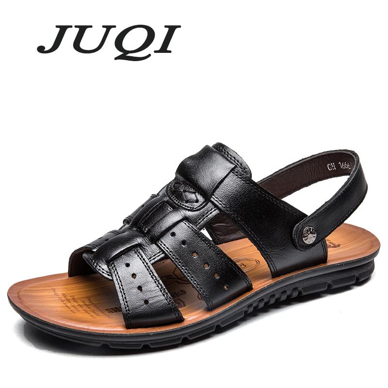 ed02b0fa6ad6 2018 Summer Beach Shoes Men S Trend Casual Non Slip Sandals 100% Leather  Men S Sandals Shoe Knee High Gladiator Sandals Sandals For Girls From  Annawawa