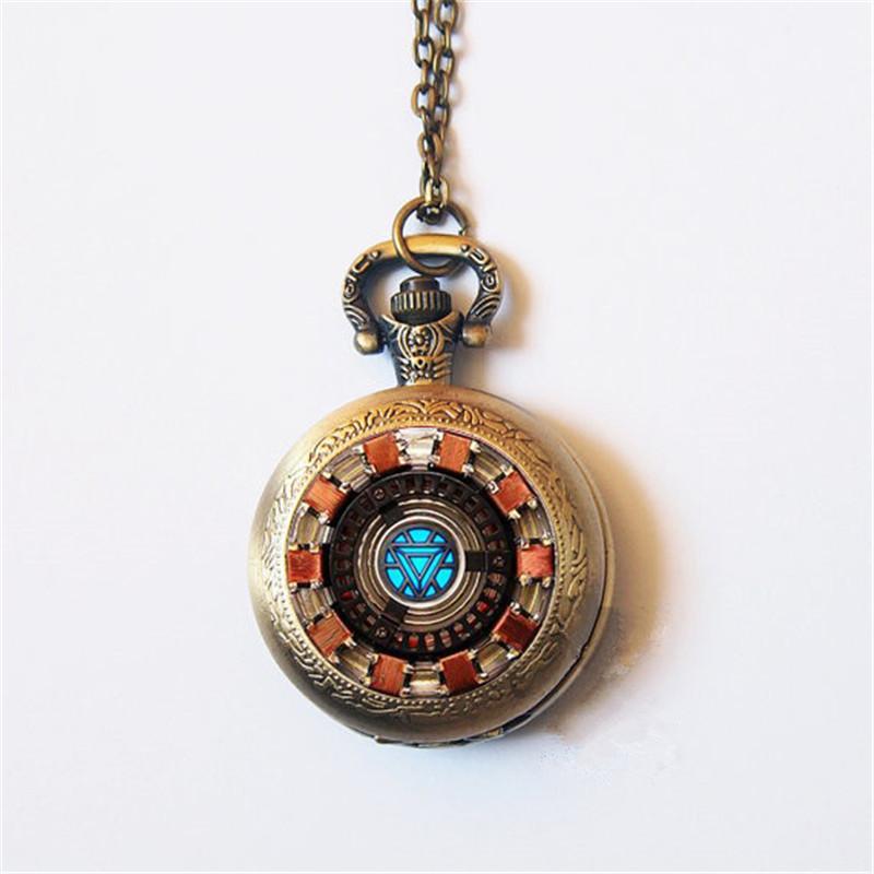 581003ae9 Compre Arc Reactor Vintage Steampunk Reloj De Bolsillo Collar De Cadena Mujeres  Hombres Plata Cuarzo Relojes De Bolsillo Moda Reloj Fob A $36.57 Del ...