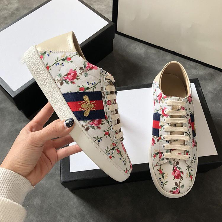 Blue striped small honeybee casual shoes flower feet tread on heel shoes leather and small white shoes printing pattern blue striped small honeybee casual shoes flower feet tread on heel shoes leather and small white shoes printing pattern flower sneakers