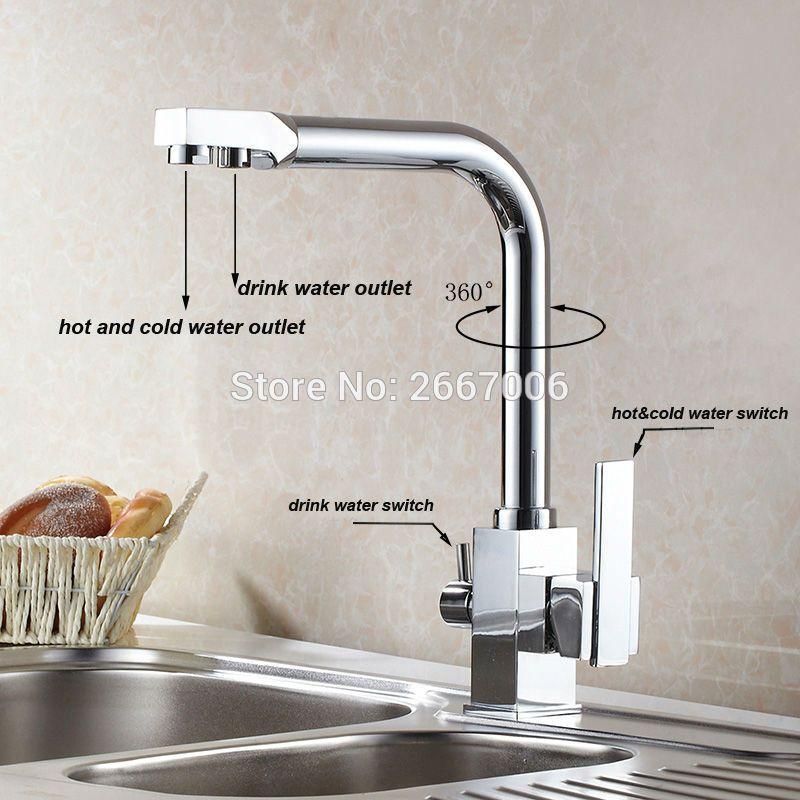Free shipping Drink Water Faucet Kitchen Sink Mixer Tap Chrome Brass Taps  Dual Handle Water Crane Dual Spout Faucet ZR646