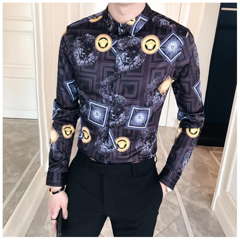 Acquista 2018 Estate Uomo Camicia Floreale Moda Manica Lunga Slim Fit Dress Camicie  Uomo Turn Down Night Club Stampa Abiti Maschili A  44.02 Dal Hermanw ... 5762ffc73a7