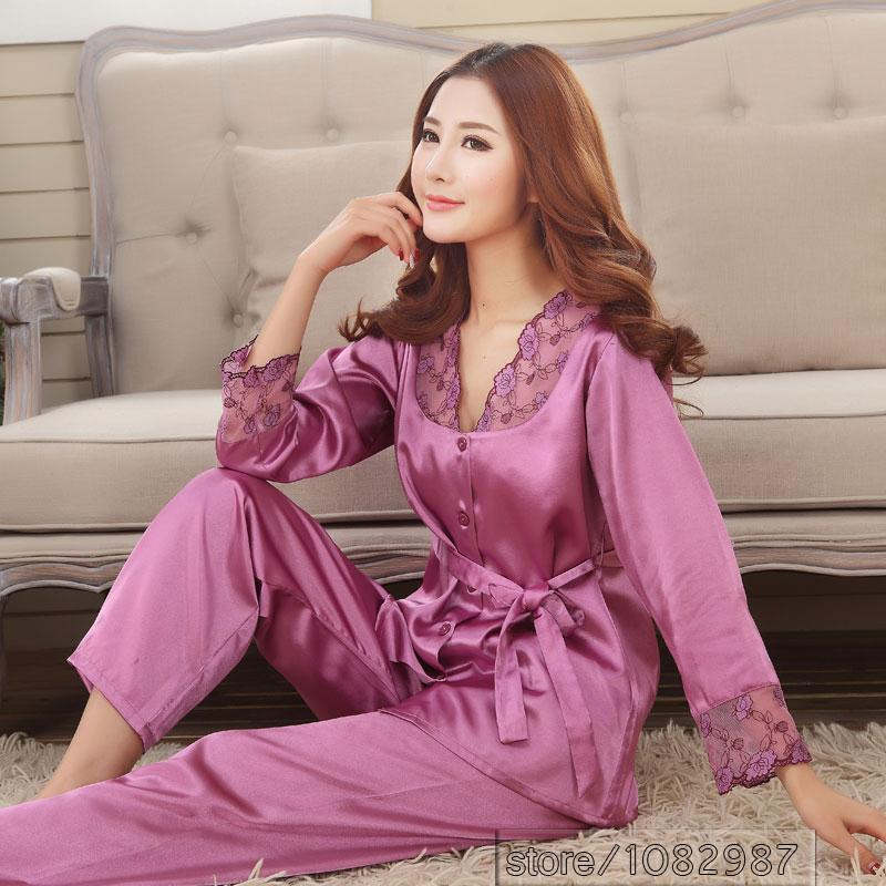 2019 2017 Spring Summer Autumn Silk Women Pajamas Sets Of Sleepcoat  Amp  Sleep  Shorts Lady Nightdress Female Home Clothes Plus Size 3XL From  Chengdaphone02 ... 617afaa47