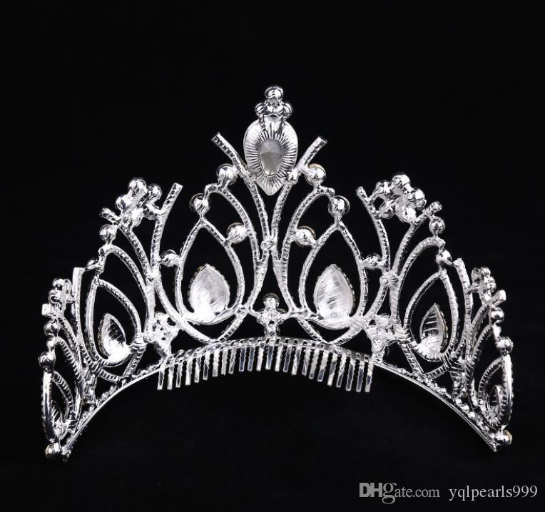 Gümüş kaplama alaşım elmas aksesuarlar, gelin taç, moda gelin şapkalar, Bayan Aksesuarları