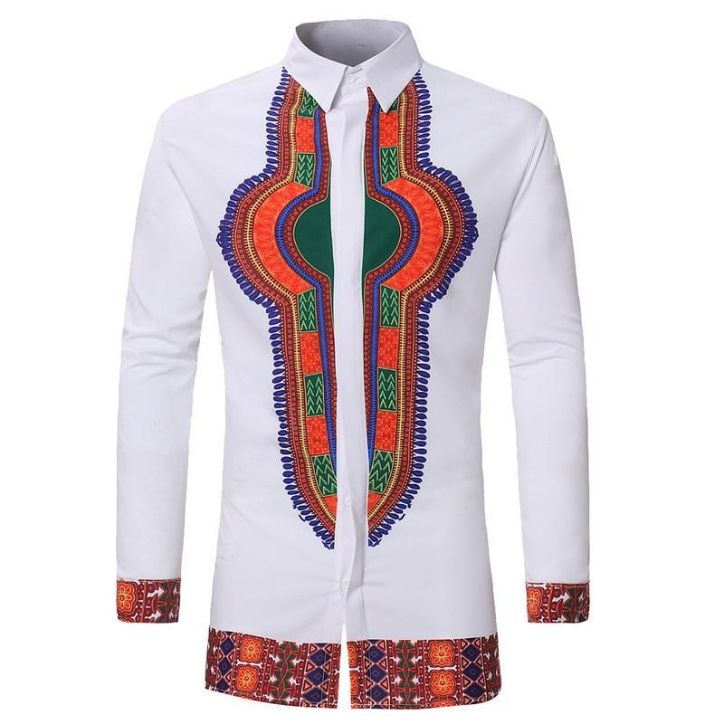 Compre 2018 Homens Do Vintage Impresso Camisa Casual Camisa De Manga Longa  Plus Size Roupas Masculinas Moda Étnica Africano Masculino Branco Tops De  Vineger ... 1ac731ec8b6d0