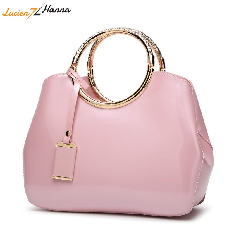 af586e4fe6 Round Handle Women Handbags Solid Color PU Leather Female Shoulder ...