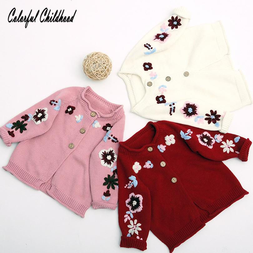 610331be1 2018 New Baby Sweater Coat Floral Embroidery Knitted Cardigan ...