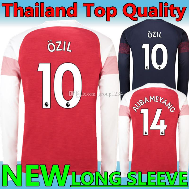 ae0711467 New 2018 19 Arsenal  10 OZIL  9 LACAZETTE Home Red Long Sleeve ...