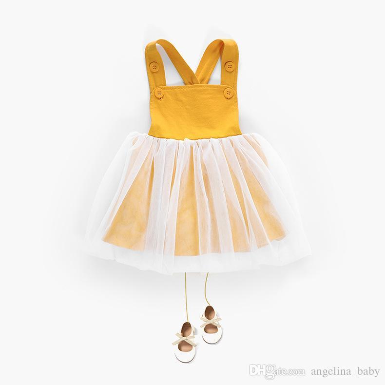 Детские Пояса Юбки Комбинезоны С Jacobs Кнопки Желтый Цвет Лотоса Весна Лето Осень Принцесса Платья Малышей Девочек Одежда