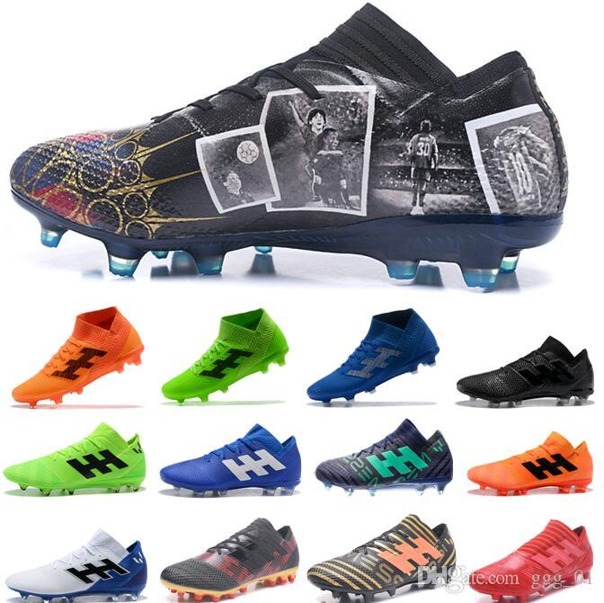 a5b2cc1e8e4 2018 World Cup Mens Soccer Shoes Nemeziz Messi 18+ 360 Agility FG Mens  Soccer Cleats Designer Football Boots New Football Shoes