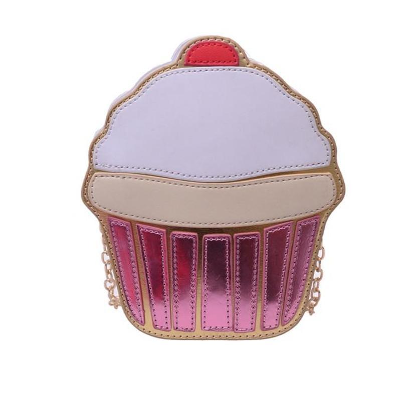 1e931880cd32 2019 Fashion New Fashion Women Cute Ice Cream Cupcake Mini Bags Leather  Chain Clutch Crossbody Girl Shoulder Messenger Bag New Bolsas Saco  Overnight Bags ...