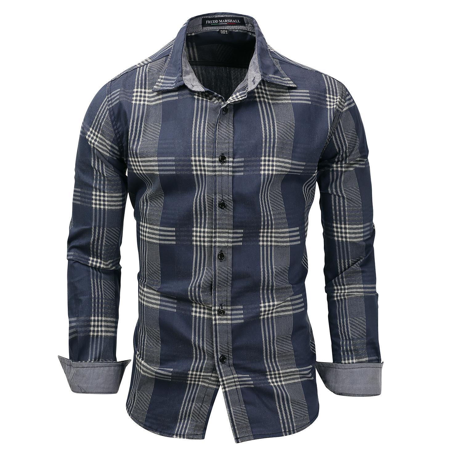 b55b8eb82c 2019 Denim Blue Plaid Shirt Men Shirts 2018 New Summer Fashion Chemise  Homme Mens Checkered Shirts Long Sleeve Shirt Men Blouse From Qingchunxu