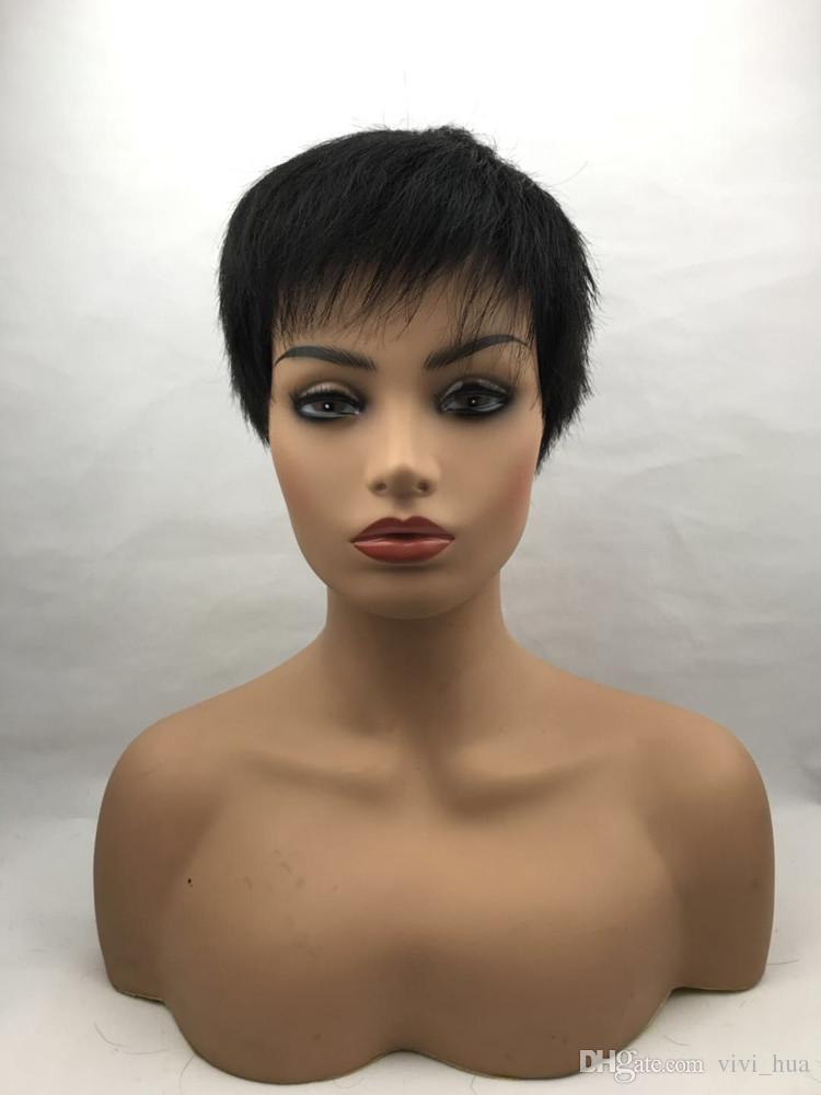 KZX-NAN7 New High Quality Human Hair Natural Black Men s Wig Fashion Super  Model Short Wig Straight Hair Inclined Bang Head Men Style Human Hair  Inclined ... c6b110cda