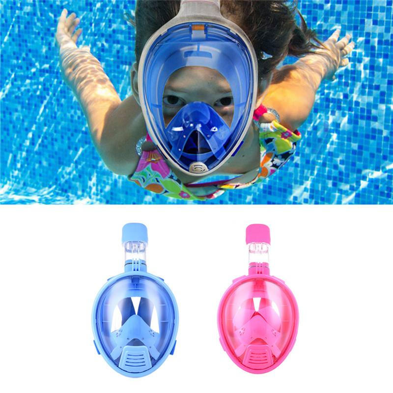 3666a0f2a Compre Kids Safe Máscara Facial Snorkeling Scuba Watersport Buceo Submarino  Swimming Snorkel Anti Niebla Full Face Máscara De Buceo Para Niños A  78.14  Del ...