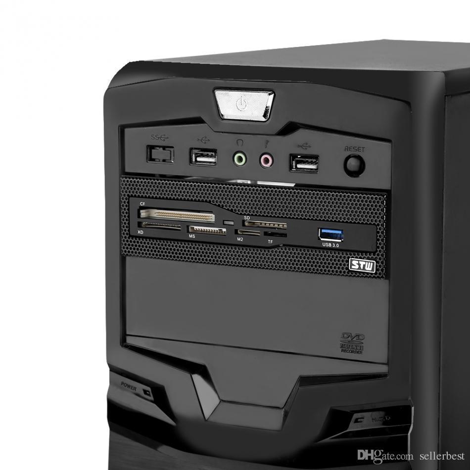 Lettore di schede STW 3061 Pannello frontale cruscotto multifunzione da 5,25 pollici Porta USB3.0 CF XD Lettore di smart card SD M2 M2 TF Nuovo