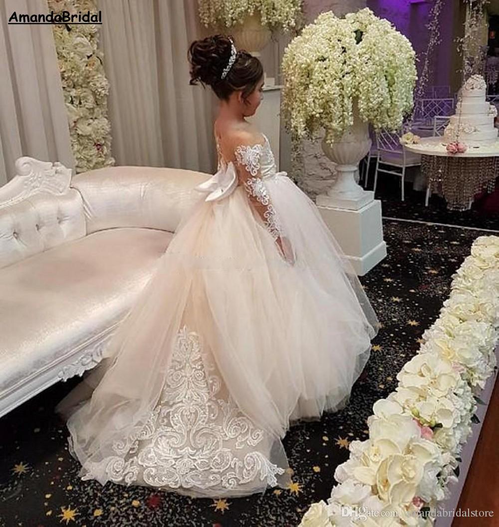 Amandabridal Elegant Ball Gown Flower Girls Dresses For Weddings Sheer Neck Long Sleeves Applique Lace Tulle Children Wedding Dresses Girls