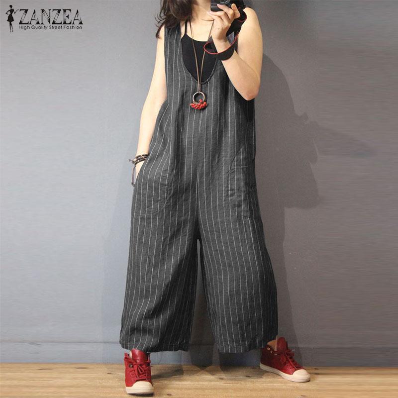 8fc40fb7 Compre ZANZEA Jumpsuits A Rayas De Las Mujeres Con Cuello En V Mameluco Sin  Mangas Femenino Casual Sueltos Pantalones De Pierna Ancha Lady Plus Size ...