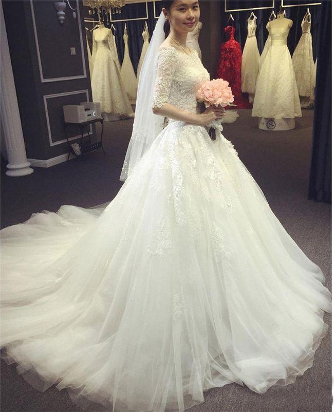 Vintage frisado Lace vestidos de casamento com meia manga queda Bateau moderno decote marfim tule espartilho A linha Vestidos de noiva Real Images