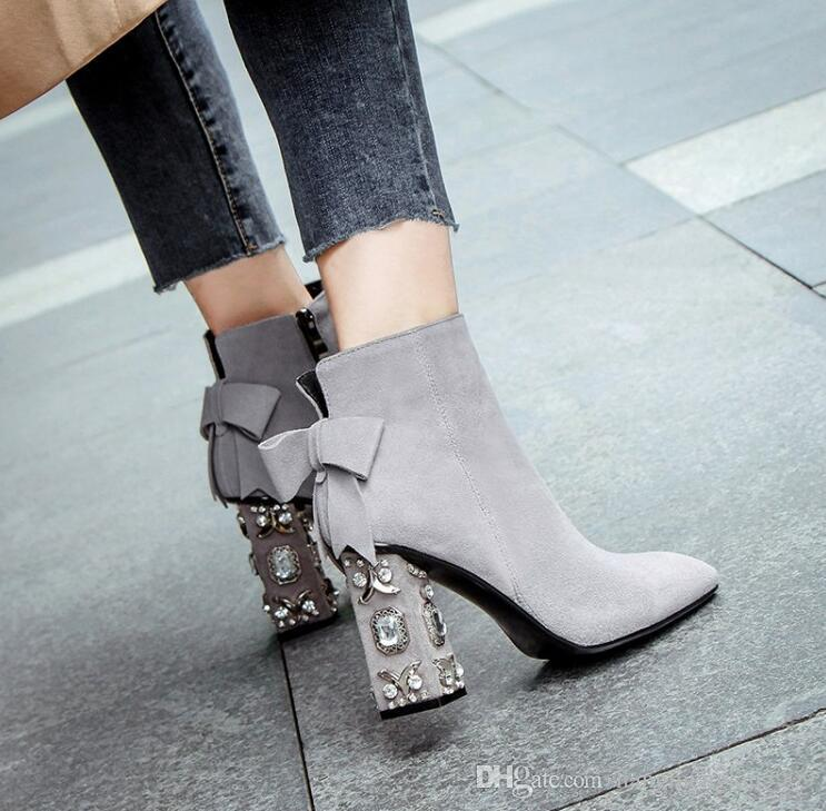 763b562516e6 Meotina Crystal High Heel Boots Genuine Leather Women Boots Bow ...