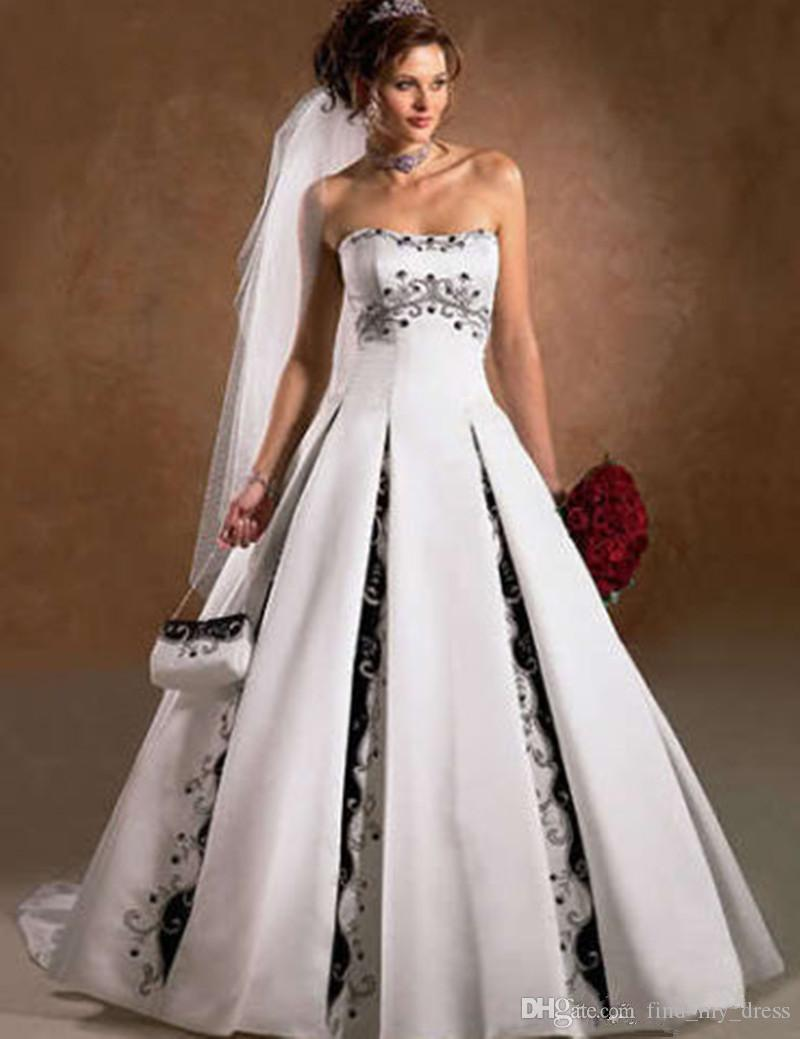 Бело-черное свадебное платье без бретелек Line Атласная принцесса с открытой спиной Романтические аппликации для особых случаев Свадебное платье Vintage Crystal