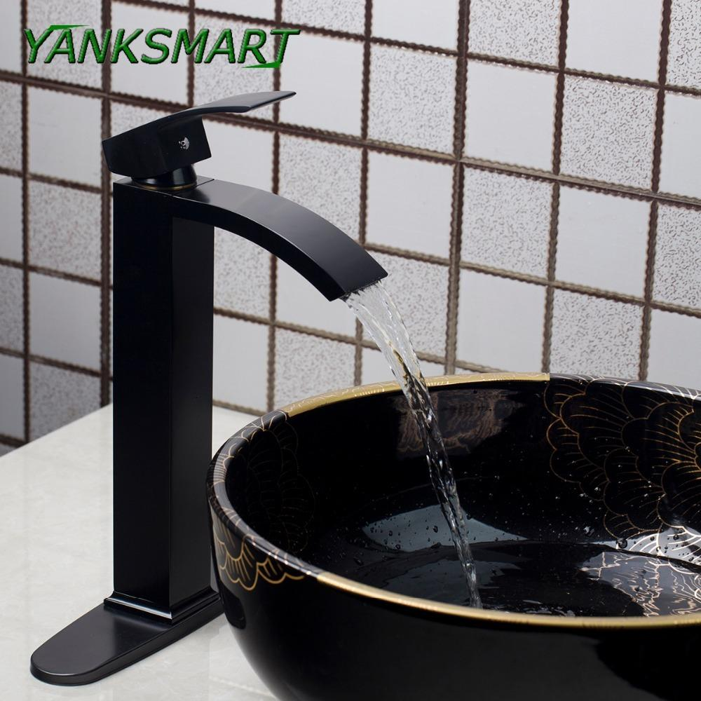 2018 Yanksmart Bathroom Faucet Waterfall Black Painting W/ Cover ...