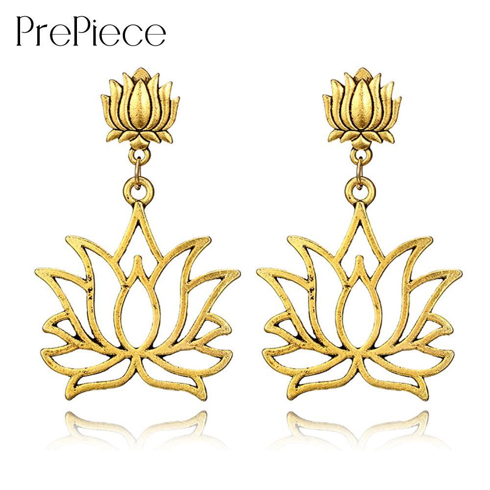 Prepiece Alloy Flower Earring Retro Gold Lotus Drop Earrings Ethnic