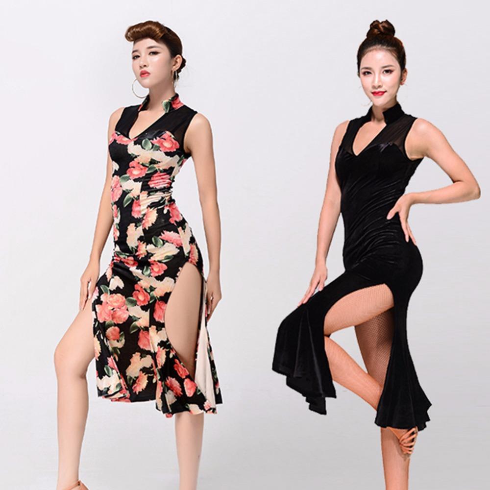 cdfdb3b292 Compre Vestido De Baile Latino Barato Para Damas Negro Estampado De Flores  Sin Mangas Novela Falda Mujeres Salón De Baile Presentación Vestidos  Clásicos ...