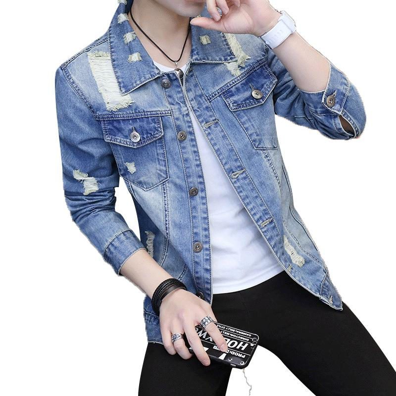 New Hole Retro Mens Denim Jacket Coat Male Outwear Jaqueta Masculino Jeans Jacket Men Coats Fashion Spring Autumn Brand Clothing