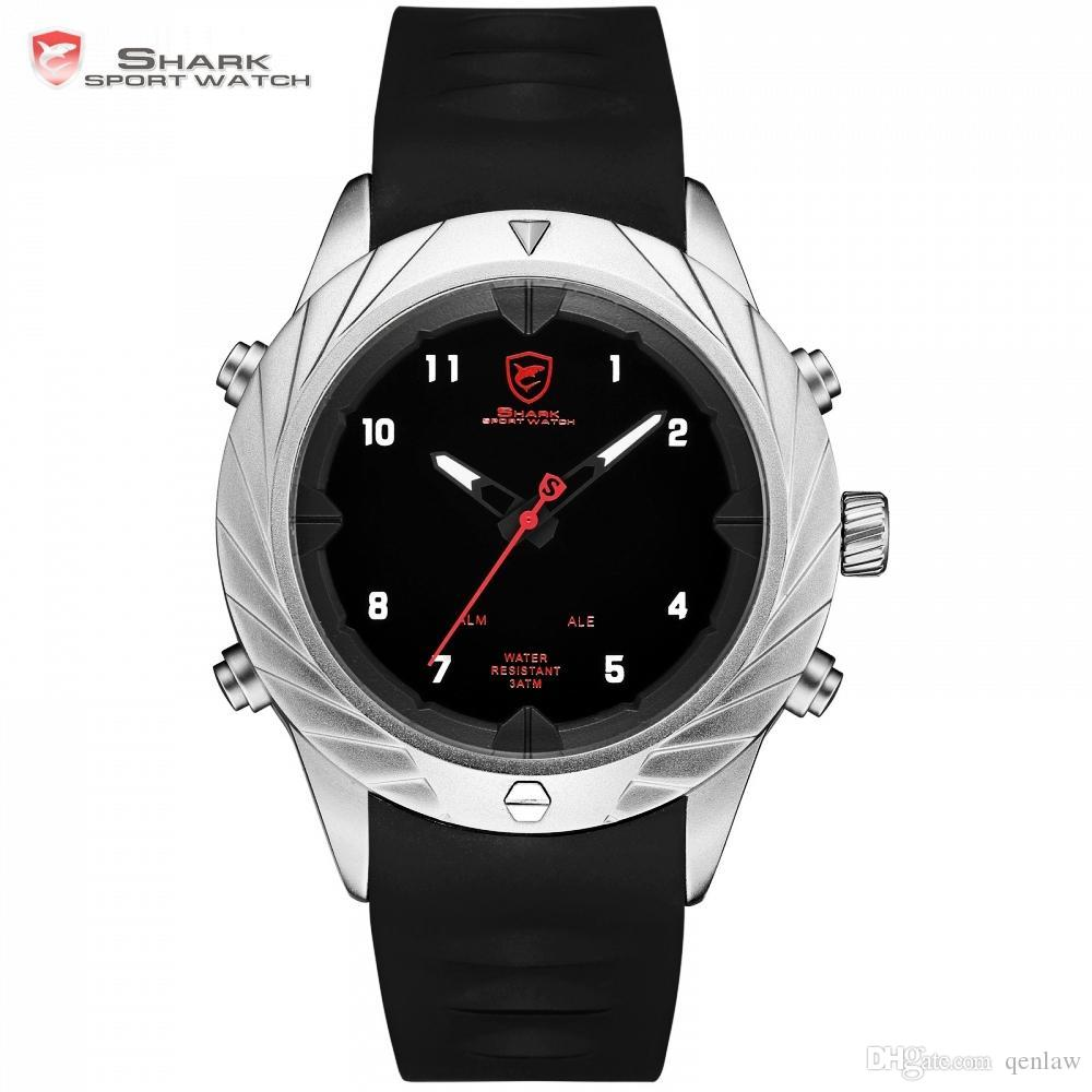 c273c752d Graceful Shark Sport Watch New Design Analog Digital Display Black Watches  LED Alarm Clock Relogio Masculino Wristwatch / SH581 Watches Online  Skeleton ...