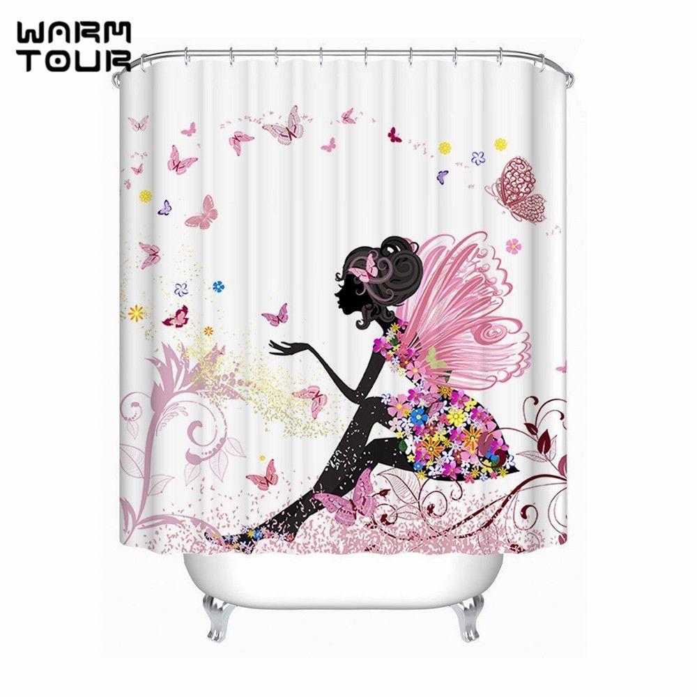 Warm Tour Trendy Pink Flower Fairy Girl Butterfly Shower Curtain