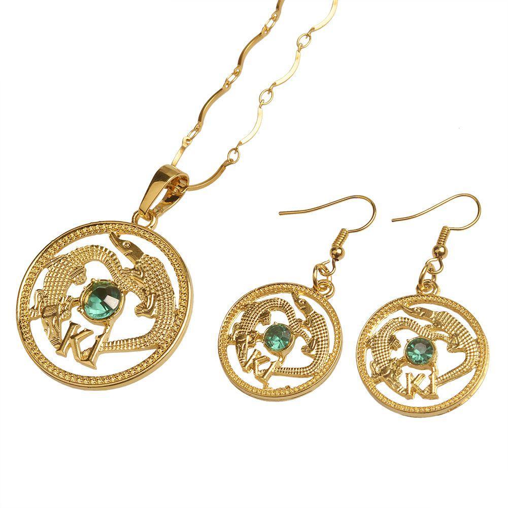 Großhandel Gold Farbe Papua Neuguinea Münze Anhänger Halsketten