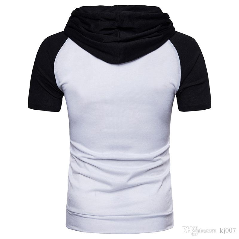 Hoodies Short Sleeves Men Cotton T Shirts Casual Slim Pullover Hooded Hip Hop Hoodies for Men's T-shirt New Brands Man Clothing
