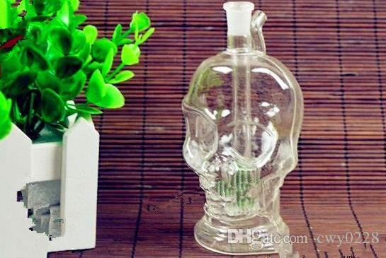 Transparent skull head snuff bottle Wholesale Glass bongs Oil Burner Glass Water Pipes Oil Rigs Smoking Free