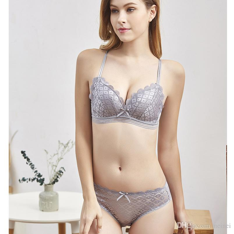 2019 Wireless Comfortable Bra And Panty Set Lace Beauty Back Pack Bra Brief  Sets For Women Thin Cup Braletter Underwear Sexy Lingerie From Neinei 98415212c