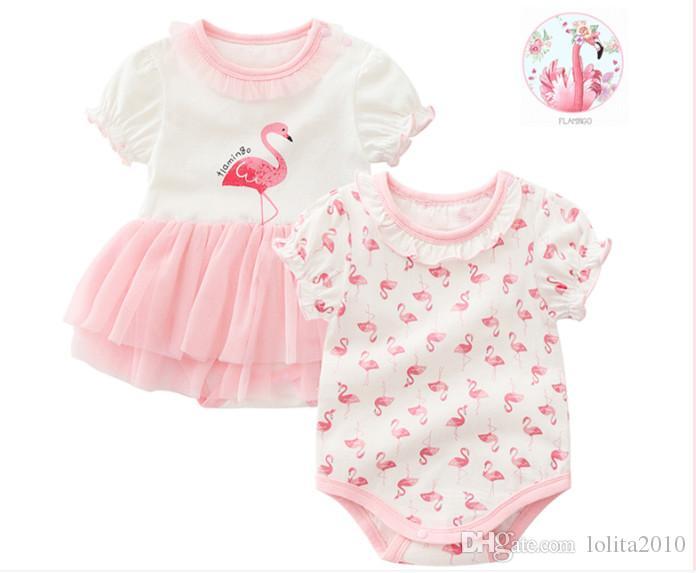 Yenidoğan Bebek Kız pamuk Flamingo üçgen Tulum elbise Giysileri 2018 Kızlar için kısa kollu baskılı Bebek Tulum yaz bodysuits 0-12 M