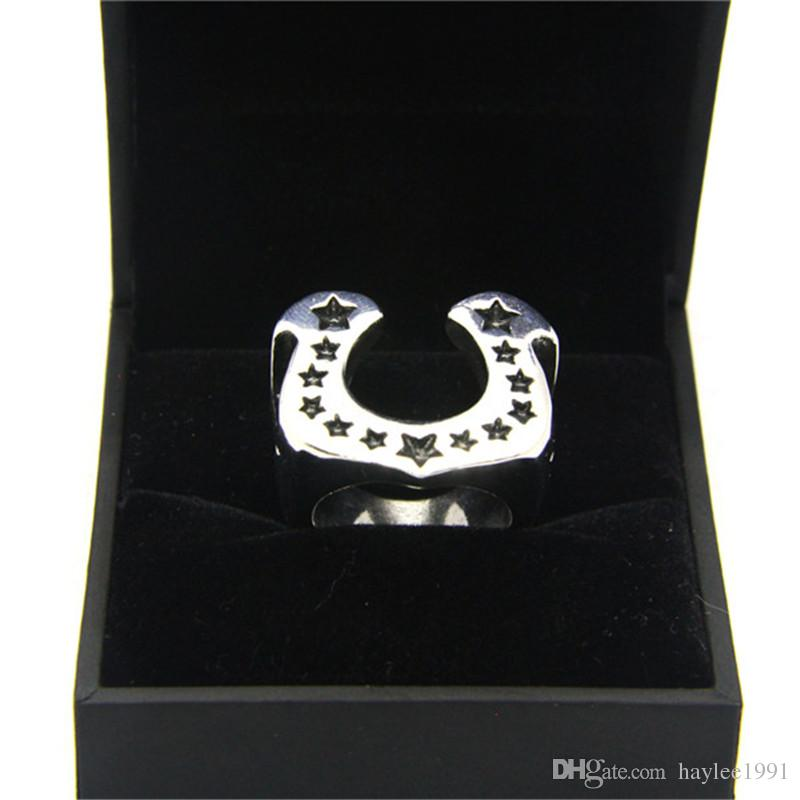 Size 7-13 Polish Stars Ring 316L Stainless Steel Popular Fashion Jewelry Biker Hiphop Style Hot Selling Men Boys Ring