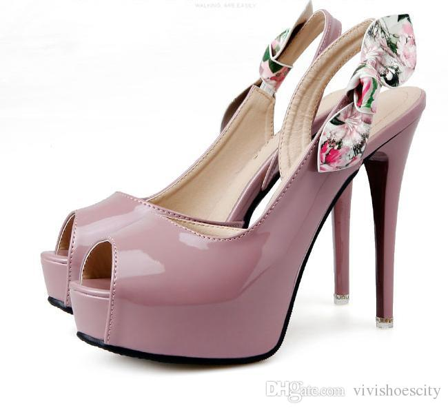99e90ad00c68 Elegant floral bridesmaid shoes peep toe high heels platform pumps sexy  patent PU leather shoes white pink black size 34 to 39