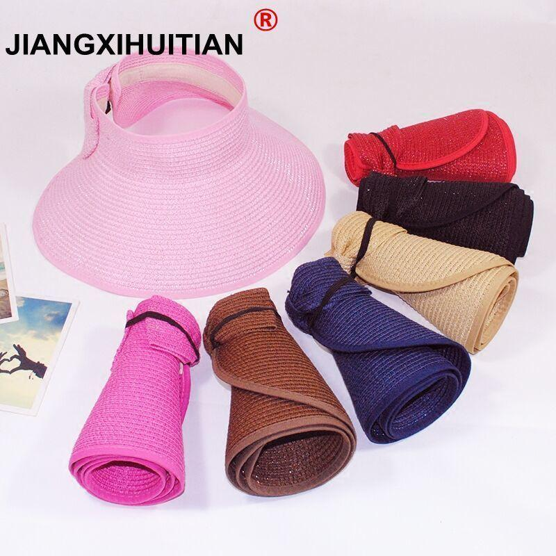 5c5c6cf08ac Spring Summer Straw Hat Visors Cap Foldable Wide Large Brim Sun Hat Beach  Hats For Women Straw Wholesale Chapeau Stetson Hats Cowboy Hats From  Vineer