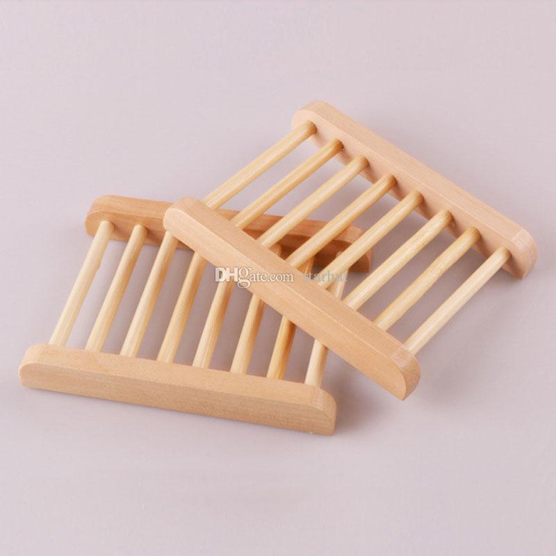Natural Bamboo Wooden Soap Dishes Wooden Soap Tray Holder Storage Soap Rack Plate Box Container for Bath Shower Bathroom WX9-383