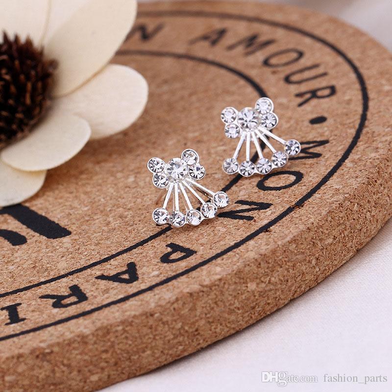 Hot Wholesale Jewelry Best Friends White Gold Plated Earings Big Diamond Earrings for Women White Zircon Earrings 45 styles