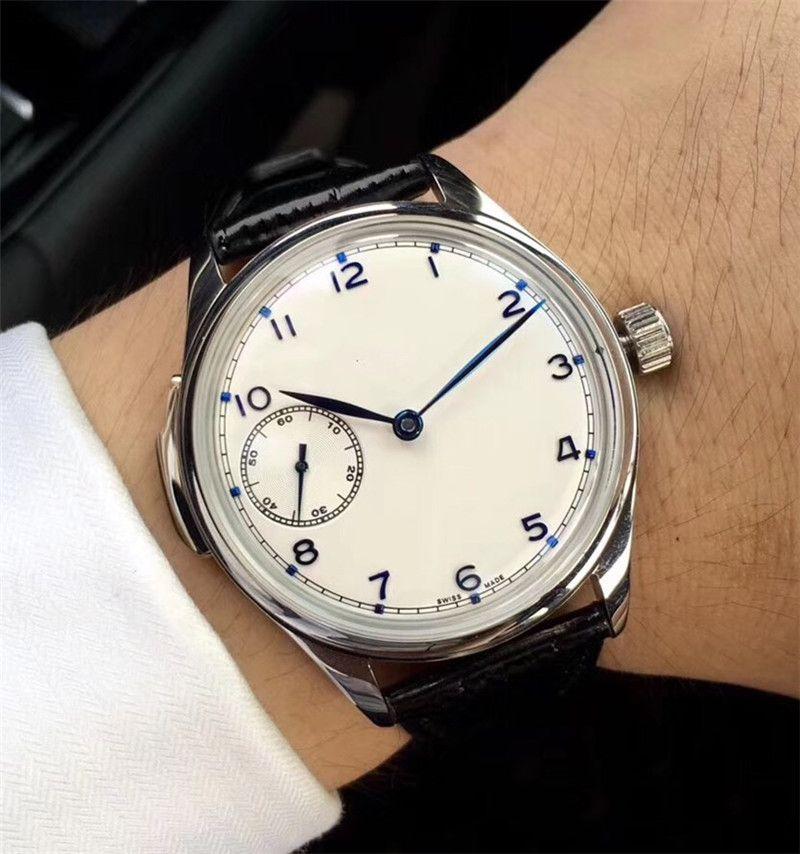 18eb9f960 Compre 44mm Relojes Para Hombres Relojes De Pulsera Caja De Acero  Inoxidable Banda De Cuero Negra Esfera Blanca Mecánica Manual Movimiento De  Cuerda Relojes ...