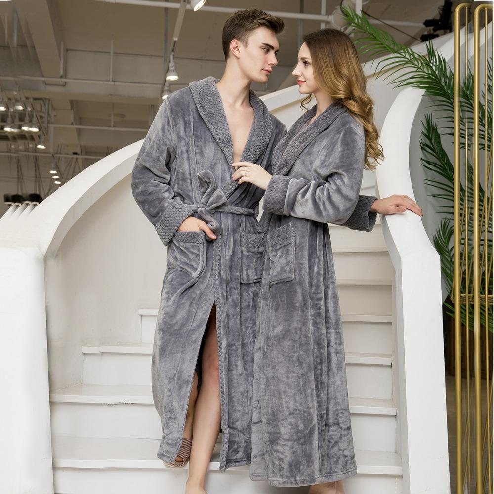 acd28a1450 2018 Luxurious Thickening Robe Women Men Flannel 2018 Winter Sexy Robes  Women Bathrobe Dressing Gowns Solid Color Bath Robes Female From  Sweatcloth