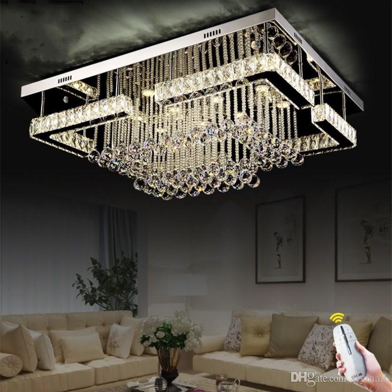 Modern Contemporary Crystal Rectangular Chandelier Lighting LED Pandant Lamp For Living Room Flush Mount Ceiling Fixture Cheap