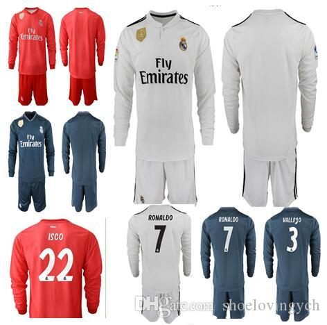 purchase cheap 29afc 92214 New 2019 Real Madrid Soccer Jersey Long Sleeve Soccer kit 2018 MODRIC  ASENSIO VINICIUS JR ISCO KROOS Ronaldo Football uniform kit